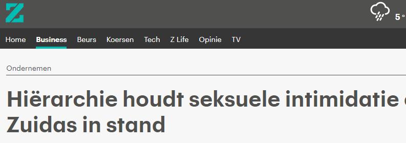 Hiërarchie houdt seksuele intimidatie op de Zuidas in stand – RTLZ
